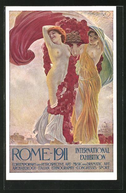 Künstler-AK Terzi: Rome, International Exhibition 1911, Barbusige Damen in togaähnlichen Kleidern