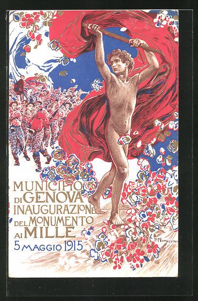 AK Genova, Inaugurazione del Monumento ai Mille 1915, Jüngling geht den Soldaten voraus, Ausstellung