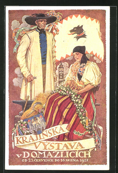 AK Domazlice, Krajinksa Vystava 1927, Bauernpaar mit Ähren und Werkzeug, Wappen, Ausstellung