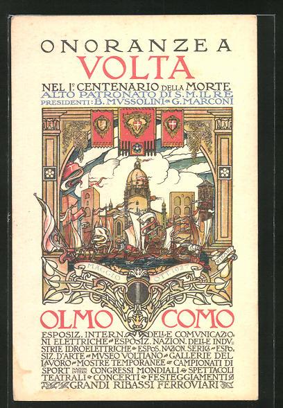 AK Como, Volta zu Ehren im ersten Zentenarium nach seinem Tode 1927, Ausstellung