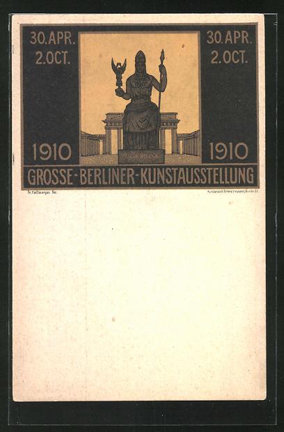 Künstler-AK sign. F. Kallmorgen: Berlin, Grosse Kunstausstellung 1910, Statue Pallas Athena