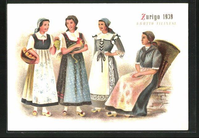 Künstler-AK Zürich, Schweizerische Landesausstellung 1939, Tessinerinnen in Tracht
