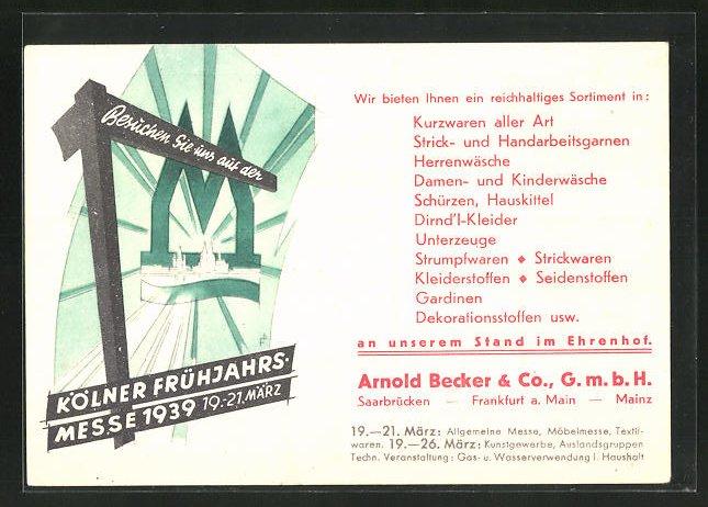 AK Köln, Kölner Frühjahrsmesse 1939, Firma Arnold Becker & Co. GmbH