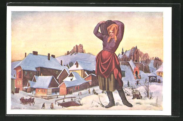 Künstler-AK Winter im Dorf mit polnischer Frau