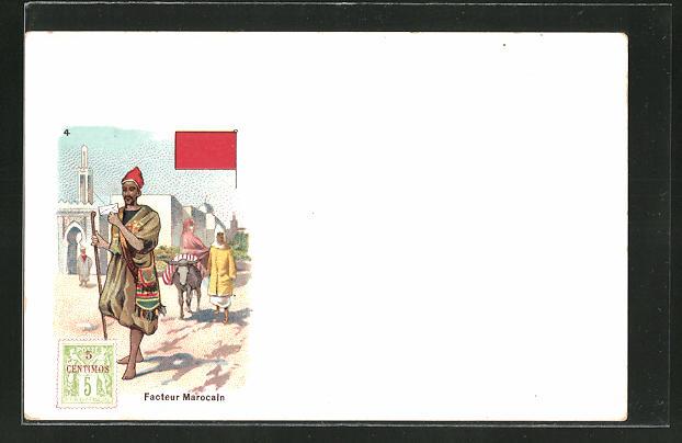 Lithographie Facteur Marocain, marokkanischer Briefträger, Briefmarke und Fahne