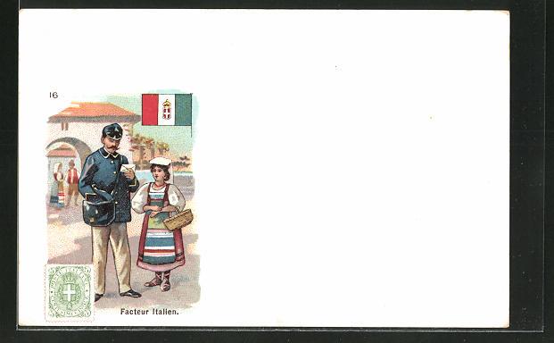 Lithographie Facteur Italien, italienischer Briefträger, Briefmarke und Fahne