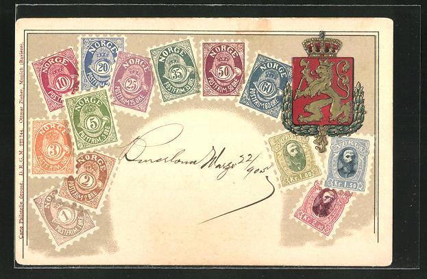 Präge-AK Briefmarken Norwegens: Öre & Kronen, Wappen