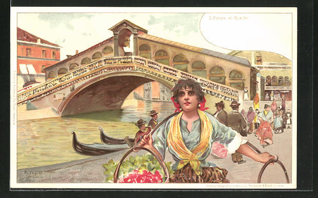 Künstler-AK sign. R. Taturi: Venedig / Venezia, Ponte di Rialto mit Blumenverkäuferin