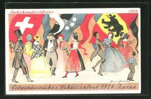 Künstler-AK Aarau, Eidgenössisches Schützenfest 1924, Tanzvergnügen