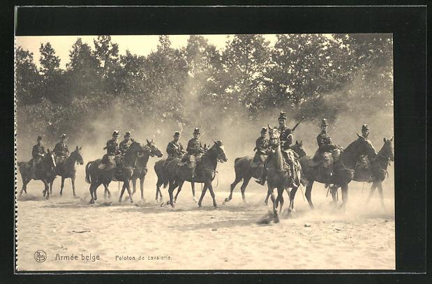 AK Belgische Kavallerie auf Patrouille