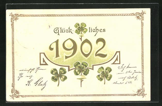 AK Neujahrsgruss, Jahreszahl 1902 und Glücksklee