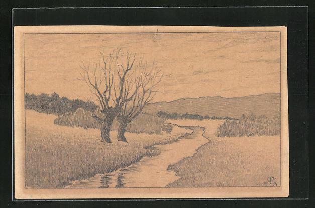 Künstler-AK Handgemalt: Flusslandschaft im Herbst