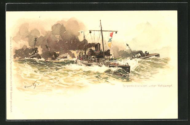 Künstler-AK Hans Bohrdt: Kriegsschiffe einer Torpedodivision unter Volldampf