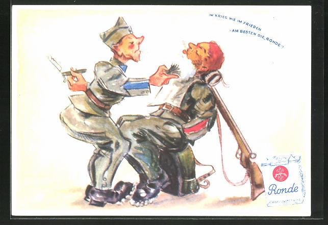 AK Schweizer Soldat beim Barbier, Päckchen ronde Zigaretten
