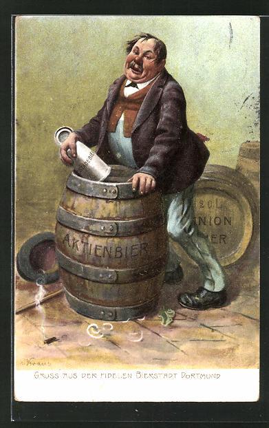 AK Trinkerhumor, Betrunkener Mann über einem Fass Aktienbier