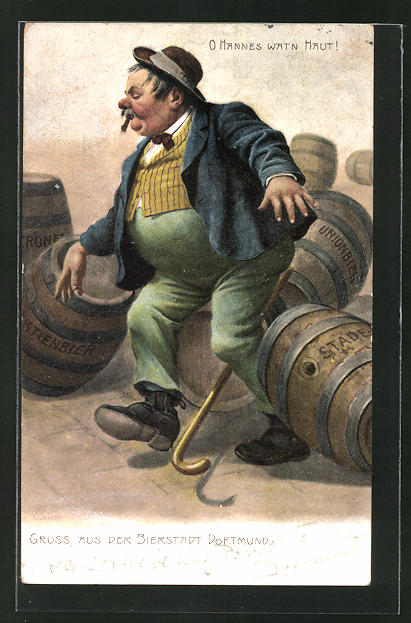 AK Trinkerhumor, Betrunkener torkelt zwischen Bierfässern herum