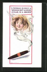 AK Bildnis einer jungen Frau erscheint im Qualm einer Zigarre