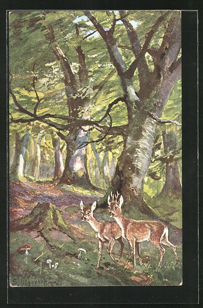 Künstler-AK August Splitgerber: Im Wald, Rehe
