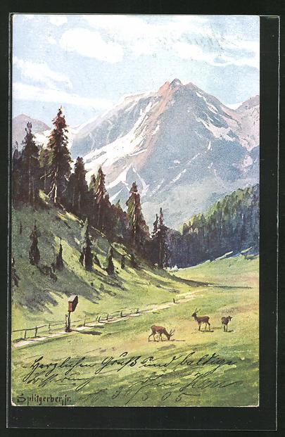 Künstler-AK August Splitgerber: Bavaria, Talidyll mit Wild