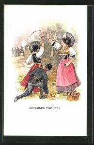 Künstler-AK R. Weiss: Joyeuses Paques!, Maiden in Tracht und schweizer Artillerie
