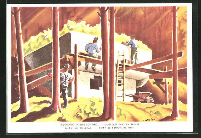 Künstler-AK Grenzbesetzung 1939 /40, Irgendwo in der Schweiz, Bunker am Waldrand