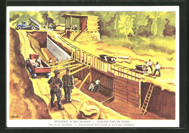 Künstler-AK Grenzbesetzung 1939 /40, Irgendwo in der Schweiz, Bau einer Tankfalle