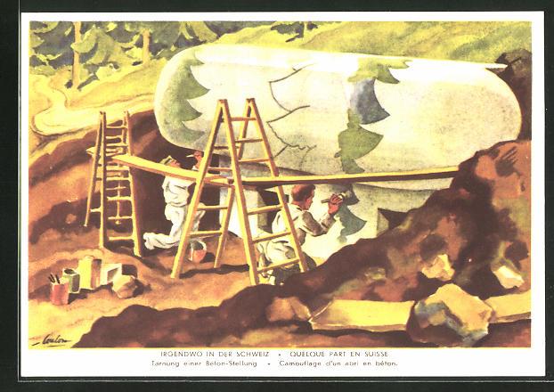 Künstler-AK Grenzbesetzung 1939 /40, Irgendwo in der Schweiz, Tarnung einer Beton-Stellung, Bunker