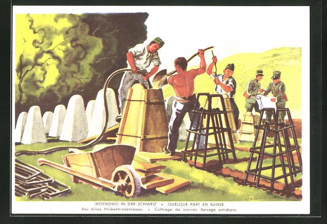 Künstler-AK Grenzbesetzung 1939 /40, Irgendwo in der Schweiz, Bau eines Höckerhindernisses