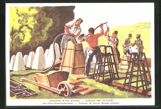 Künstler-AK Grenzbesetzung 1939 /40, Irgendwo in der Schweiz, Bau eines Höckerhindernisses, Panzersperre