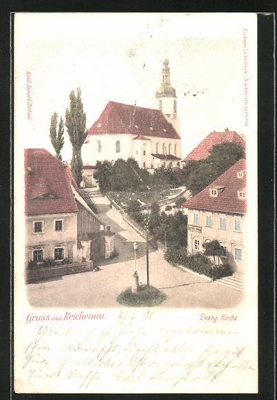 AK Reichenau, Blick zur Evang. Kirche