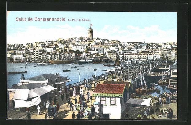 AK Constantinople, Le Pont de Galata, Brückenansicht