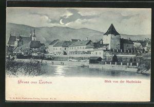 Mondschein-AK Leoben, Blick von der Murbrücke