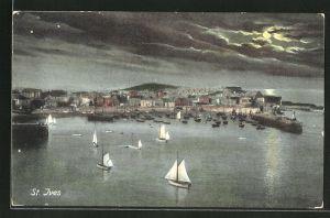AK St. Ives, Hafen im Mondlicht
