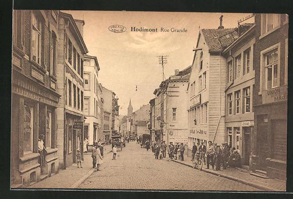 AK Hodimont, Rue Grande, Strassenpartie im Zentrum