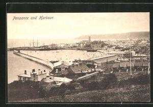 AK Penzance, Ortsansicht mit dem Hafen