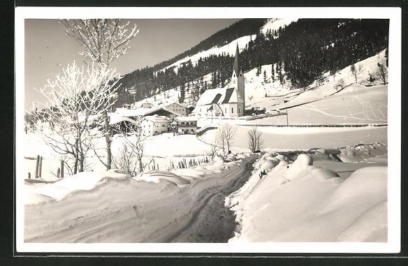 AK St. Jakob a. P., Blick zur Stadt im Winter
