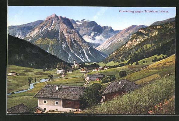 AK Obernberg, Ortsansicht gegen Tribulaun
