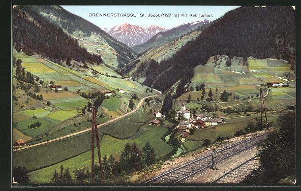 AK St. Jodok, Ortsansicht von der Brennerstrasse aus mit Kehrtunnel