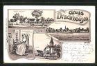 Lithographie Drachhausen, Spreewälderin am Spinnrad, Schule, Kirche, Ansicht vom Sand, Totalansicht