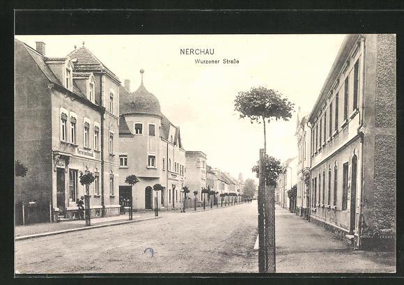 AK Nerchau, Partie in der Wurzener Strasse mit Vereinsbank
