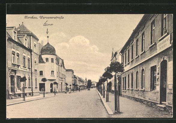 AK Nerchau, Wurzenerstrasse mit Vereinsbank