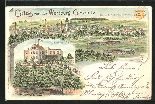 Lithographie Gössnitz, Gasthaus Wartburg, Bes. Oskar Trommer, Blick von der Wartburg ins Pleissenthal 0