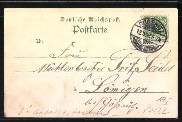 Lithographie Gössnitz, Gasthaus Wartburg, Bes. Oskar Trommer, Blick von der Wartburg ins Pleissenthal 1