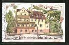 Lithographie Zinnitz, Partie am Erholungsheim
