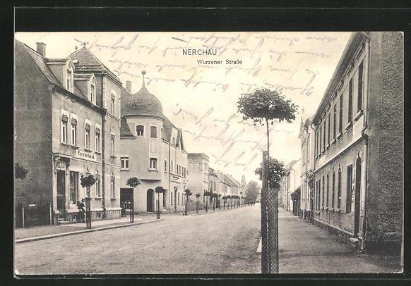 AK Nerchau, Partie in der Wurzener Strasse mit Vereinsbank 0