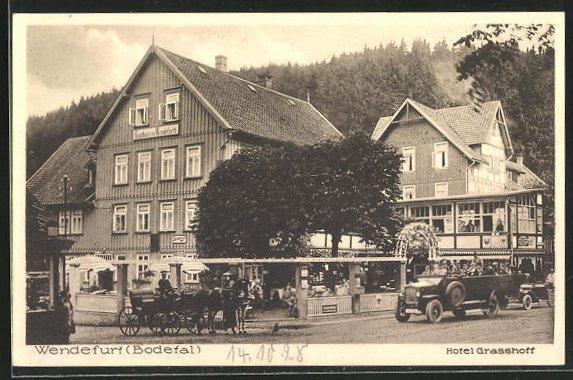 AK Wendefurth / Bodetal, Strasse am Hotel Grasshoff