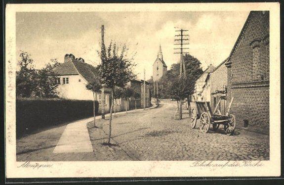 AK Altruppin, Friedrich-Wilhelm-Strasse mit Blick auf die Kirche