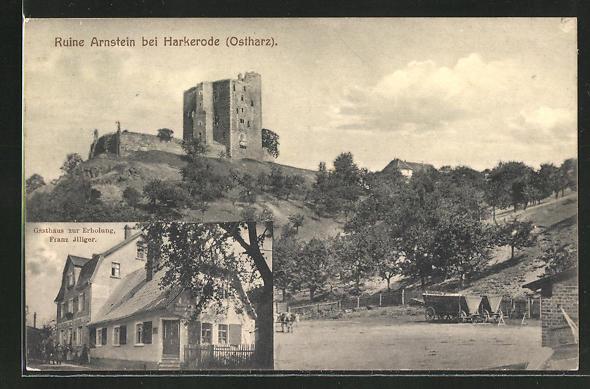 AK Harkerode, Gasthaus zur Ruine Arnstein, Bes.: Franz Illiger