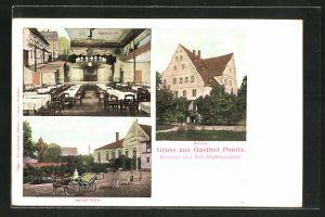 AK Ponitz, Gasthof Ponitz, Saalansicht, Schloss, Aussenansicht