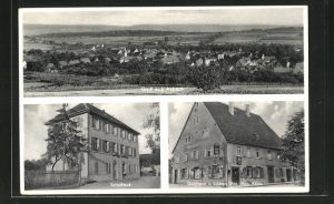 AK Asbach, Gasthaus zum Löwen, Partie am Schulhaus, Gesamtansicht aus der Vogelschau